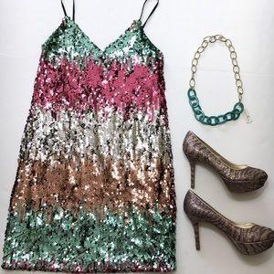 Express Sequin Strap Dress, sz S